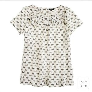 3 for $10-- J. Crew Bow Top in Bow Print Sz 00